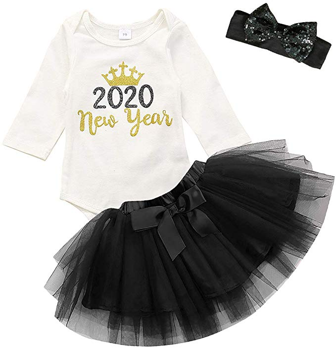 Newborn Infant Baby Girl Outfits My 1st New Year Clothes Set Long Sleeves Romper+Tulle Tutu Skirt Set