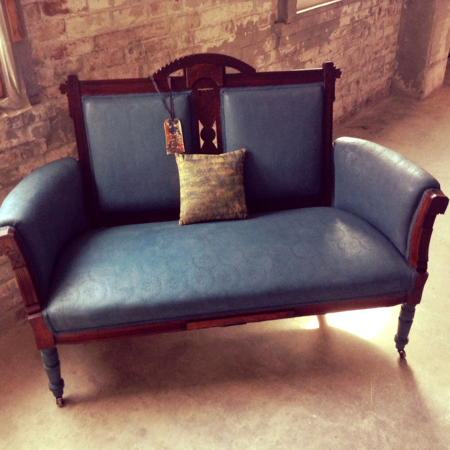 Antique Loveseat French Country Couch Victorian Settee Vintage Farmhouse Eastlake