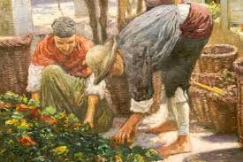 Arte-Paisaje: febrero 2012 arte-paisaje.blogspot.com1500 × 1000Buscar por imagen esta pintura costumbrista centrada en las labores agrícolas. Centra la escena un grupo de personajes que, ataviados con la indumentaria tradicional de las zonas rurales, recogen pimientos en grandes cestas de mimbre.