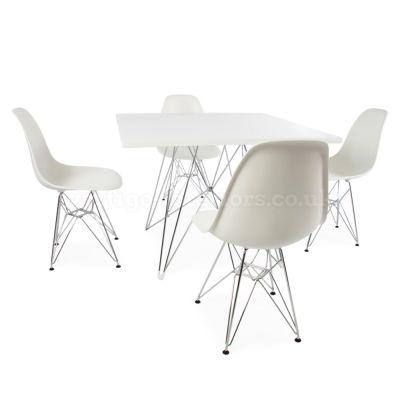 Eames Square Eiffel Table U0026 4 DSR Chairs   Vertigo Interiors
