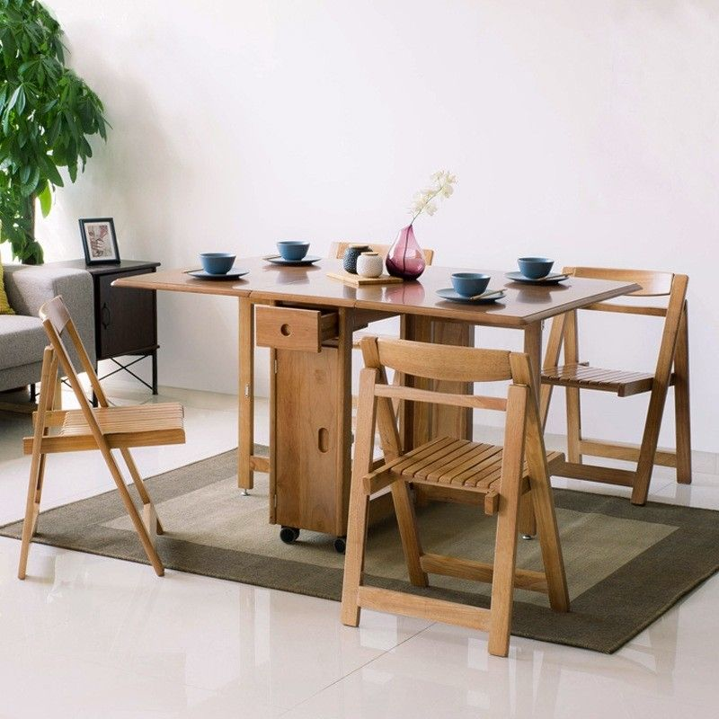 Modern Space Saving Solid Wood Folding Dining Table Set With Chair Storage 5 Piece 58 Rectangle Dining Room Table Folding Dining Table Dining Table Setting Interior Design Dining Room