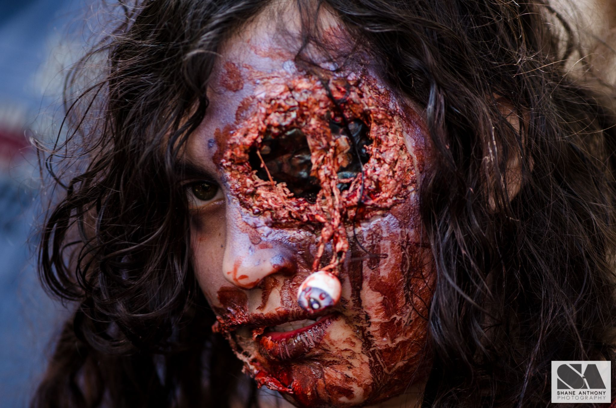 Zombies blood guts and brains at Melbourne zombie shuffle 2014.