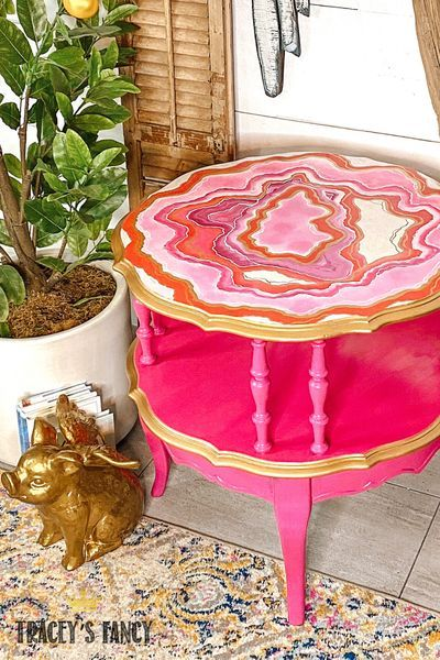 Photo of Pink Geode Inspired Side Table