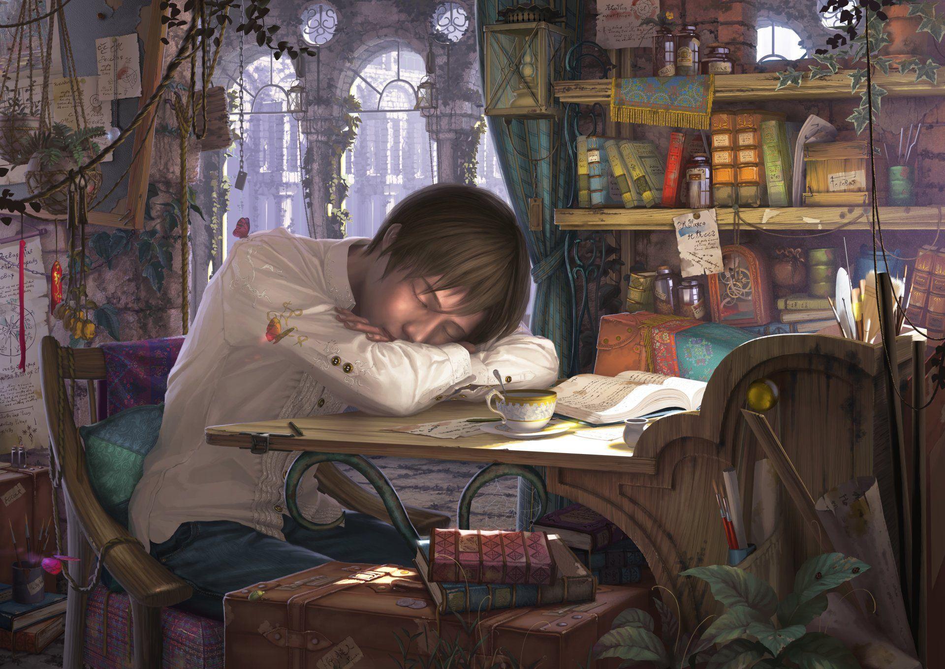 Anime original sleeping boy desk book wallpaper anime