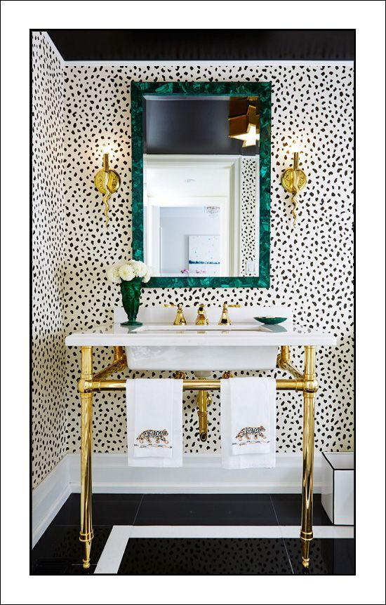 Glam Bathroom Cheetah Print Wallpaper Polished Brass Fixtures Homedecor Interiordesign