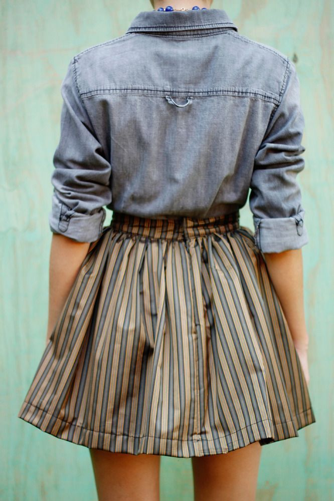 flared skirt with chambray shirt