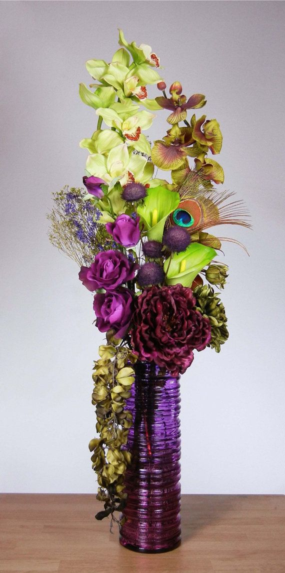 Tall Skinny Lime Green And Purple Orchid Floral