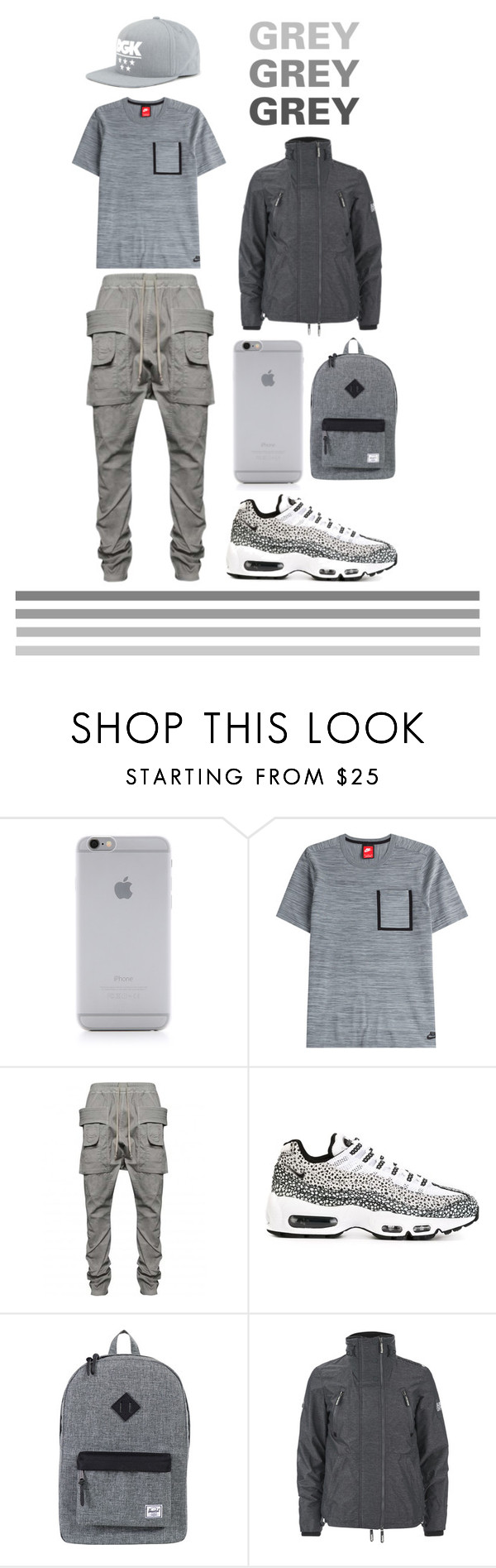 """GREY DAY"" by xxxdlite on Polyvore featuring Native Union, NIKE, DRKSHDW, Herschel Supply Co., Superdry, DGK, men's fashion and menswear"