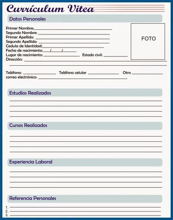 Rellenar E Imprimir Curriculum Vitae Gratis Curriculum Vitae Gratis