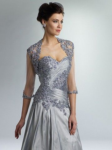 A-line Sweetheart Applique 3/4-Length Floor-length Taffeta Silver ...