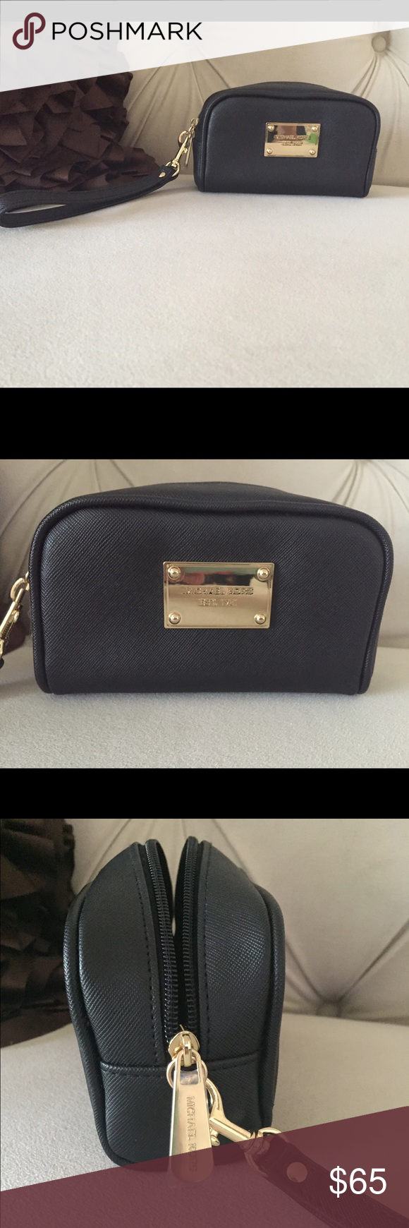 Michael Kors Makeup Bag Michael Kors Black makeup bag, can also be used as a wristlet. Black leather with gold logo & zipper. Plastic coverings still on the zipper. This was a gift, never used. Brand new. Michael Kors Bags Cosmetic Bags & Cases