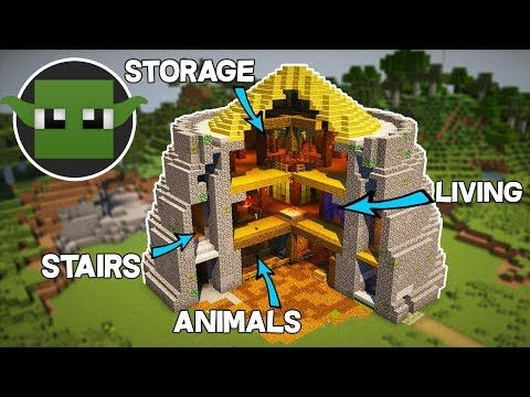 Minecraft tutorial iron age house how to build a for Minecraft base blueprints