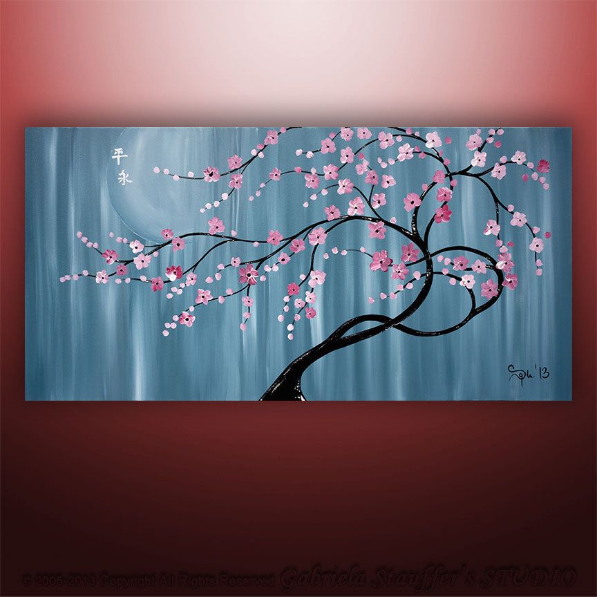 Abstract Painting Art Original Landscape Asian Tree Blossom Zen By Gabriela 48x24 Large Abstract Art Painting Tree Painting Tree Art