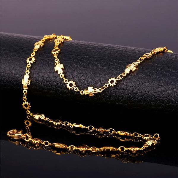 18K Real Gold Plated Gold Cross Chain Necklace Fashion Jewelry Women ... 9668e86ce