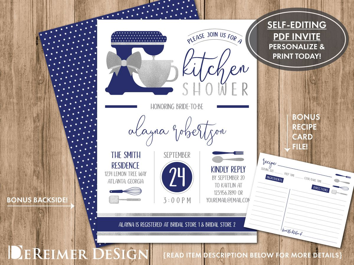 ca1ddb124673 Kitchen Bridal Shower in Navy Blue and Silver