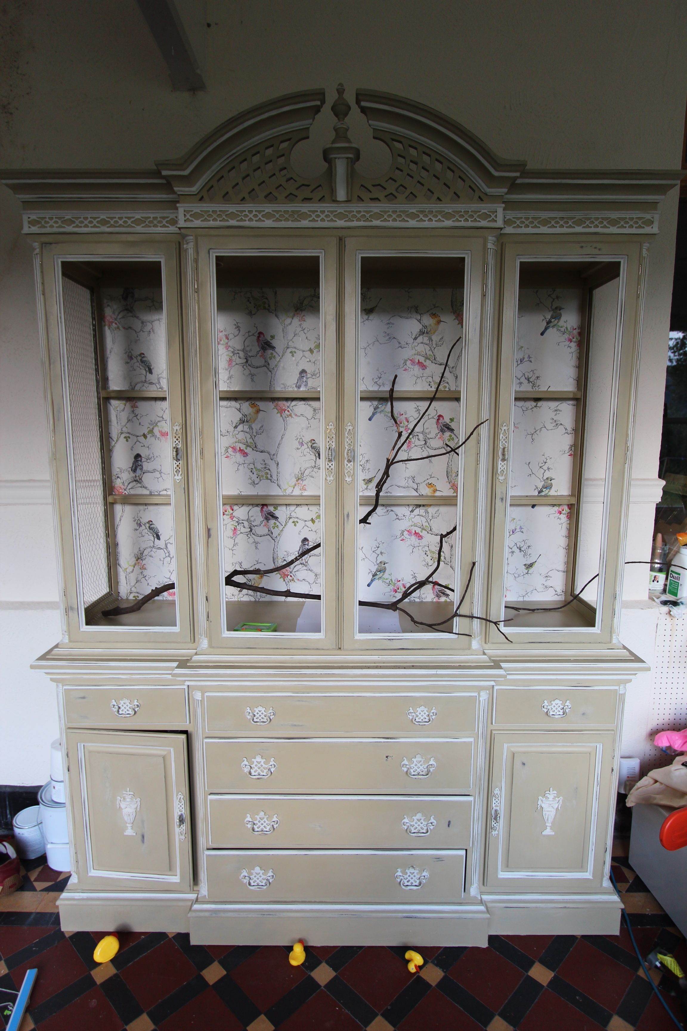 Beste my budgie aviary! made from an upcycled china display cabinet RE-14
