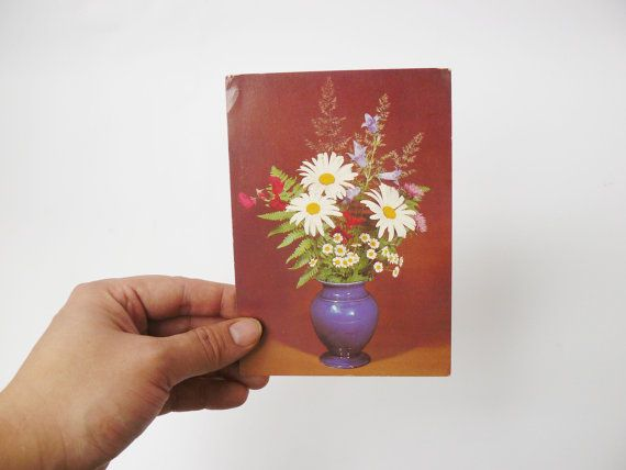 #Vintage Soviet postcard with a bouquet of flowers, USSR postcard…