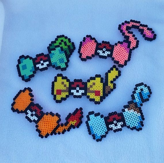 Set of 5 Pokemon perler bead hair bows by DanniCaliCreations