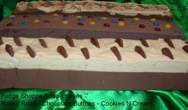 fudge soaps - chocolate peanut butter, chocolate button, and rocky road
