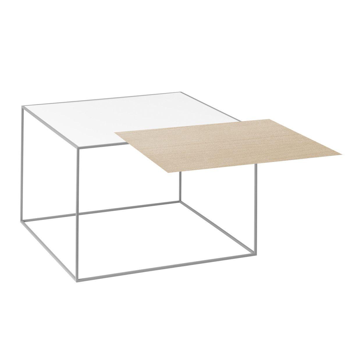 by Lassen - Twin 49 Beistelltisch, grauer Rahmen, weiß / Eiche Jetzt ...