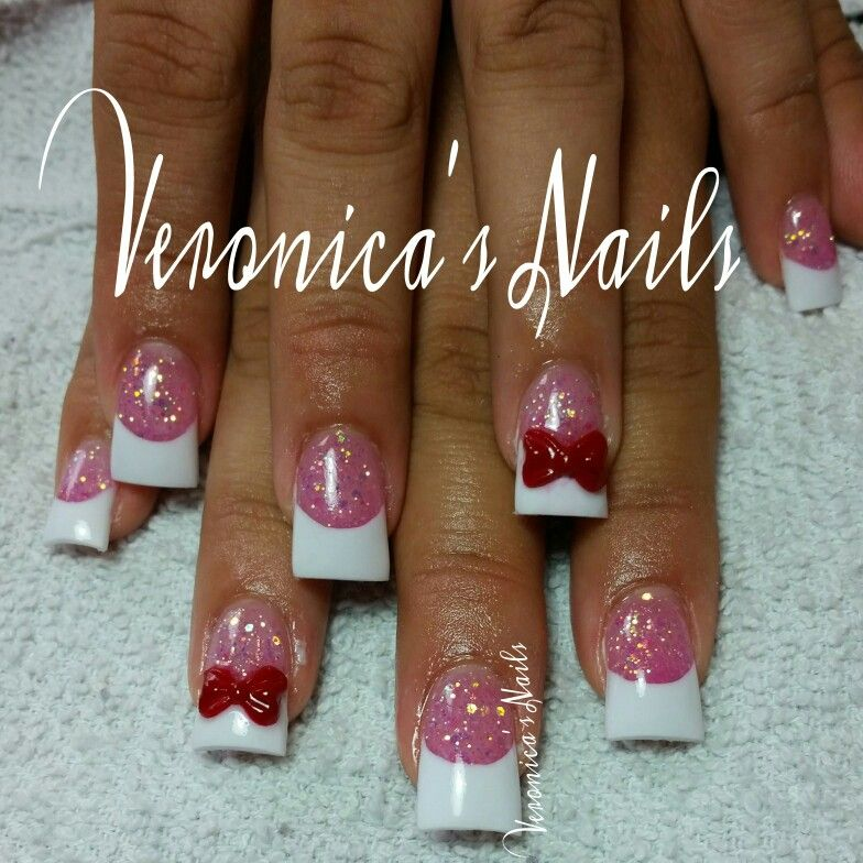 nailedbyvee pink and white red 3d bow French tip glitter nails ...