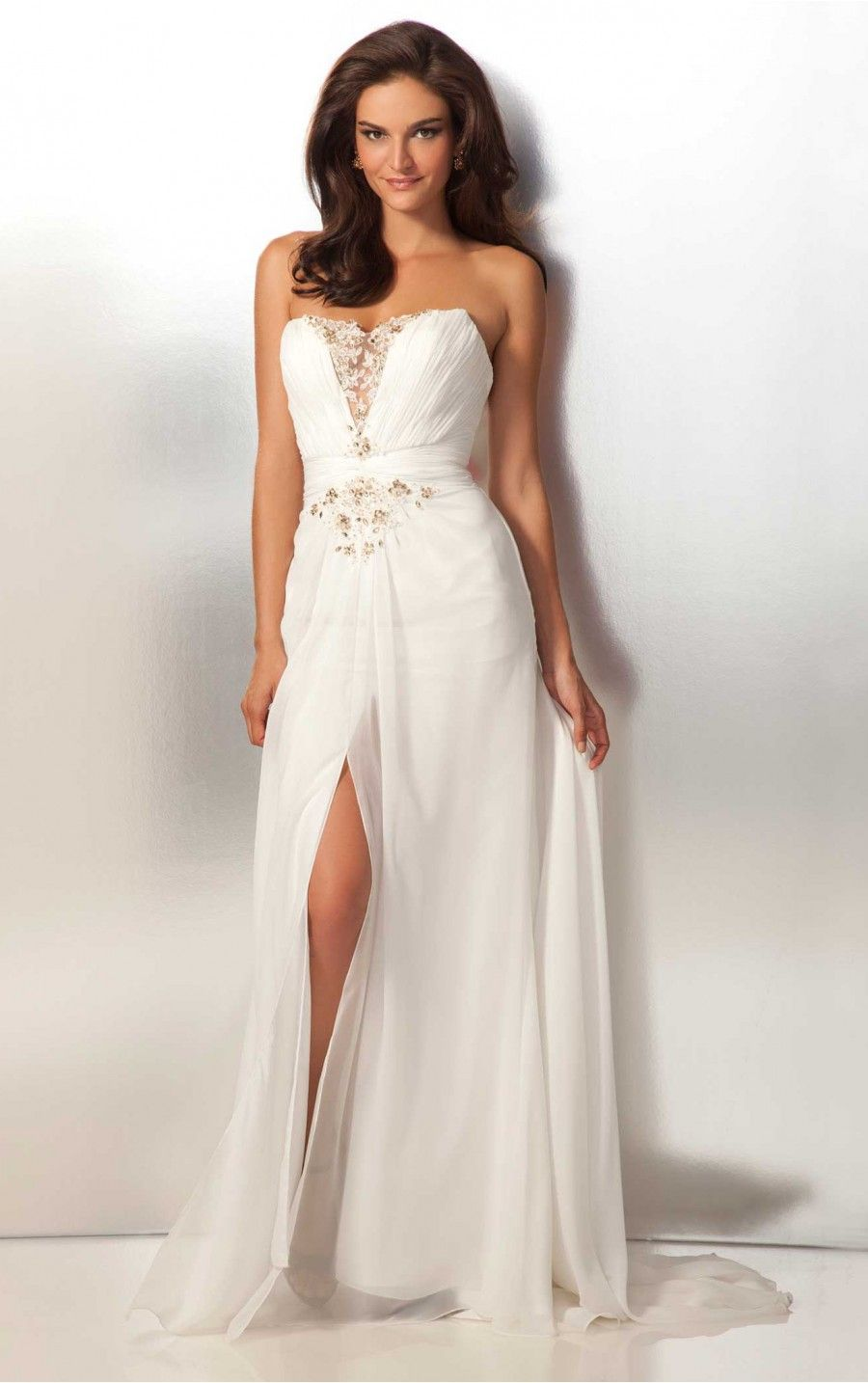 Elegant White Sheath Floor-length Sweetheart Dress [Dresses 10032 ...