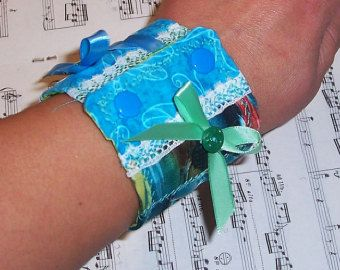 Mermaid Green n Blue Fabric Bracelet
