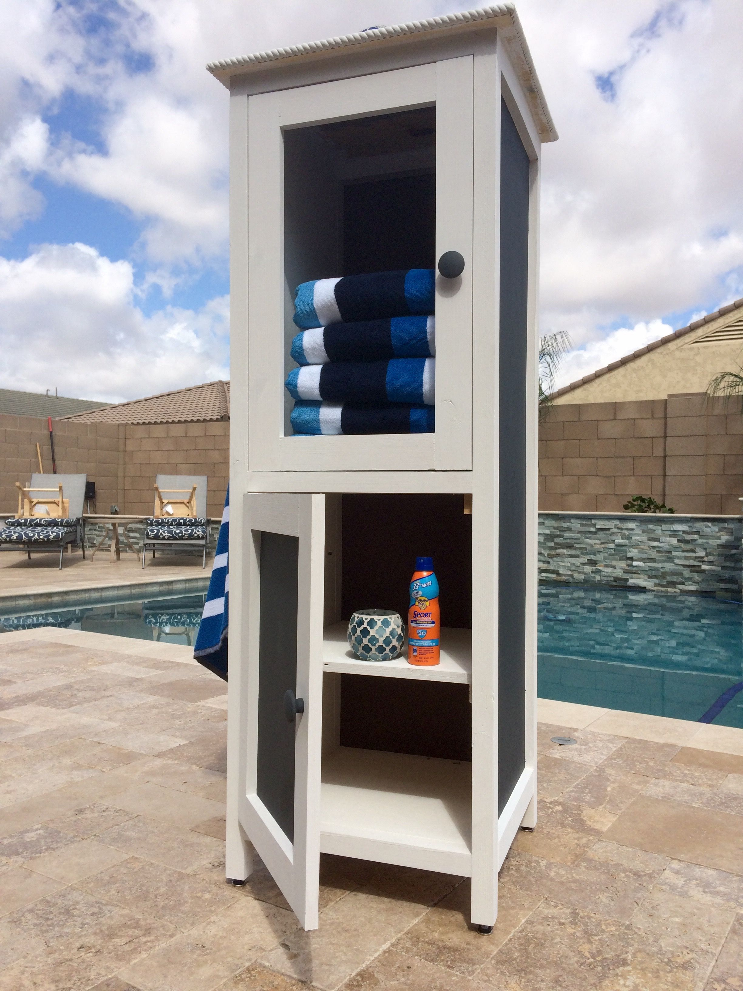 Ana White Poolside Towel Cabinet From Benchmark Cabinet Plan Diy Projects Pool Towels Pool Towel Storage Pool Storage
