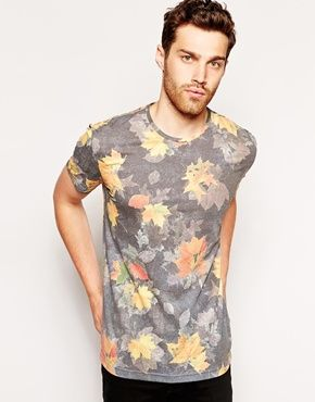Antony Morato T-Shirt With All Over Leaf Print