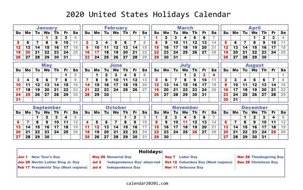 2020 Holidays Calendar Printable [Worldwide] Holiday