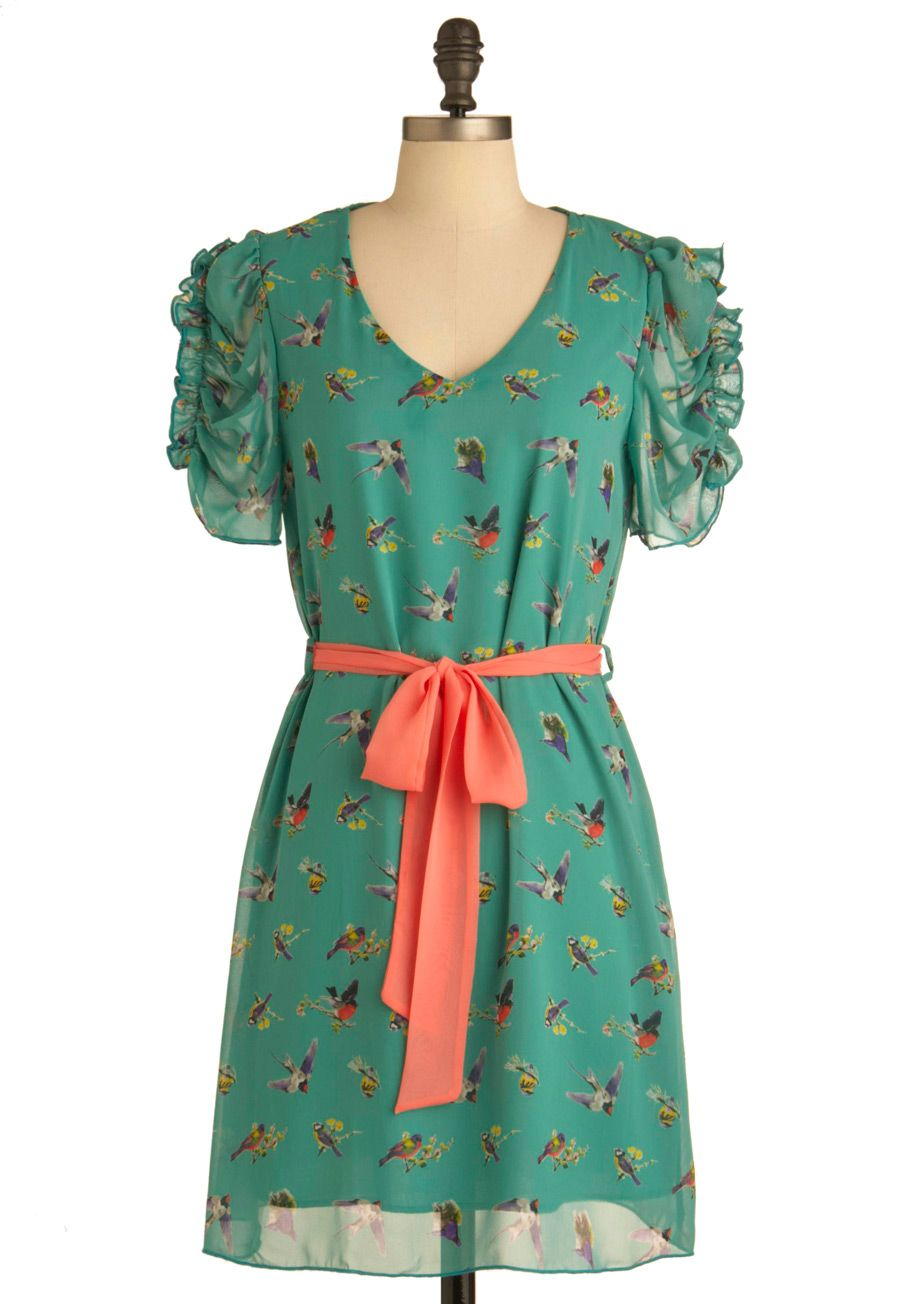 Ruche of Wings Dress - Mid-length, Green, Multi, Multi, Print with Animals, Cutout, Party, Sheath / Shift, Short Sleeves, Belted, Ruching