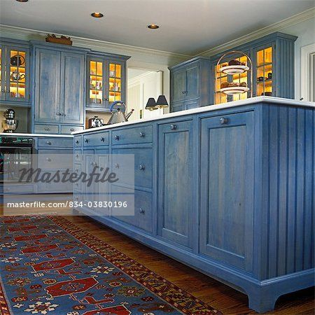 Blue Stained Kitchen Cabinets