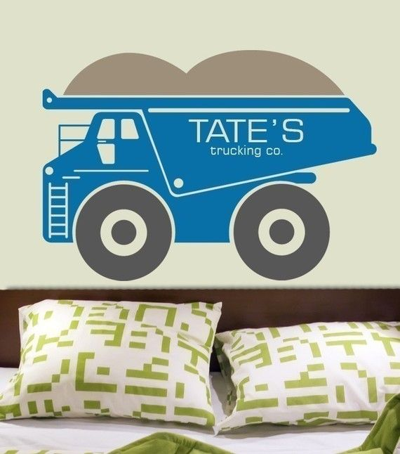 Custom Name Dump Truck Huge 38 X 26 Vinyl Wall Decal Graphic By Decomod Walls