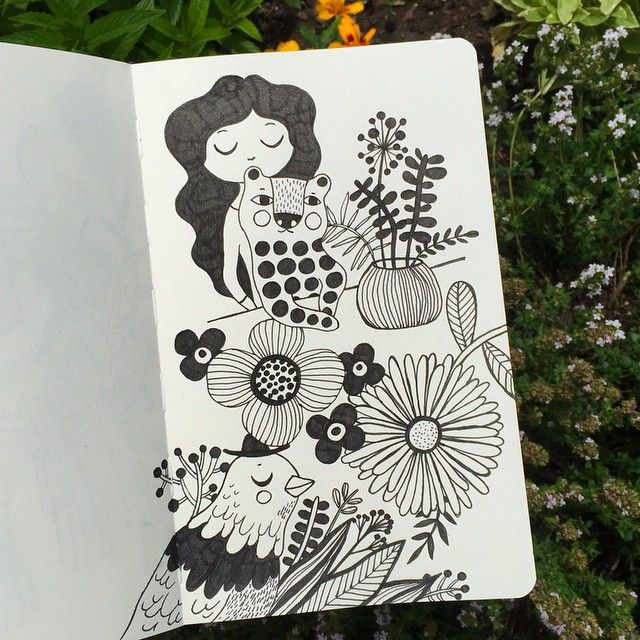 drawing in the garden...