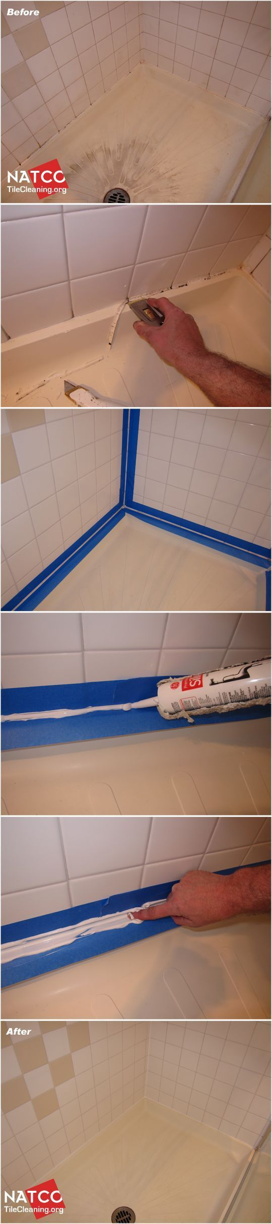Replace black moldy caulk and clean your tile shower crafts in