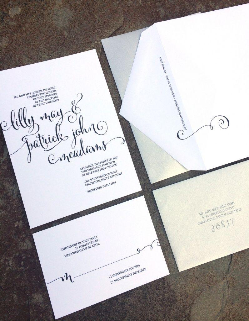 Black and Silver Wedding Invitation Suite -- Pomp Designs  Washington, DC