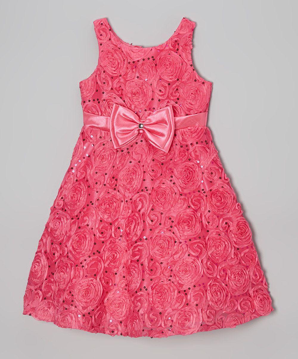 Look what I found on #zulily! Fuchsia Sequin Rosette Bow A-Line Dress - Girls by Jayne Copeland #zulilyfinds. $36.99, 7-12