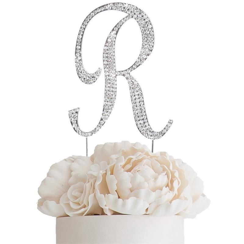 45 bedazzling rhinestone letter cake toppers