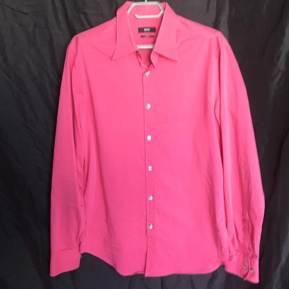 Hugo Boss Mens Casual Button Shirt Dark Pink Size Large Slim Fit EUC