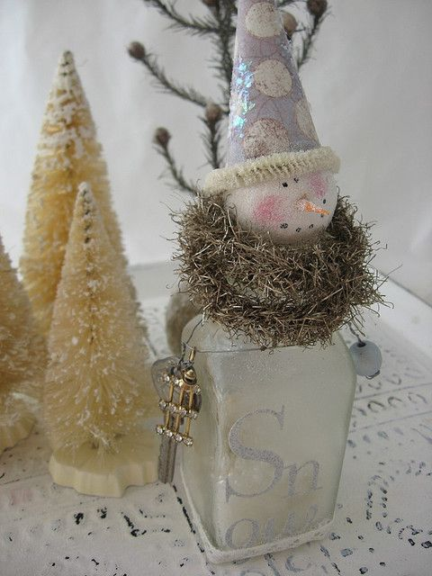 Snowman bottle. Vintage spice bottle, paper clay head