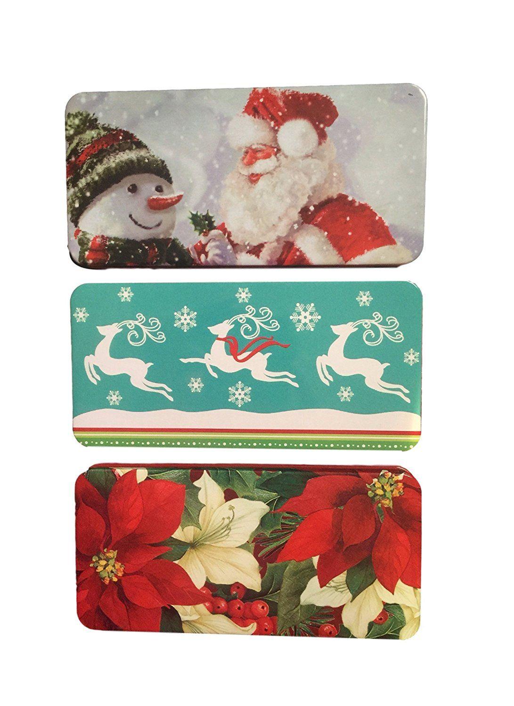 Christmas money check holder tin box 3 pack santa with