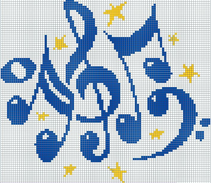 Knitting Symbols By Cet : Note musicale chiave di violino stelline punto croce