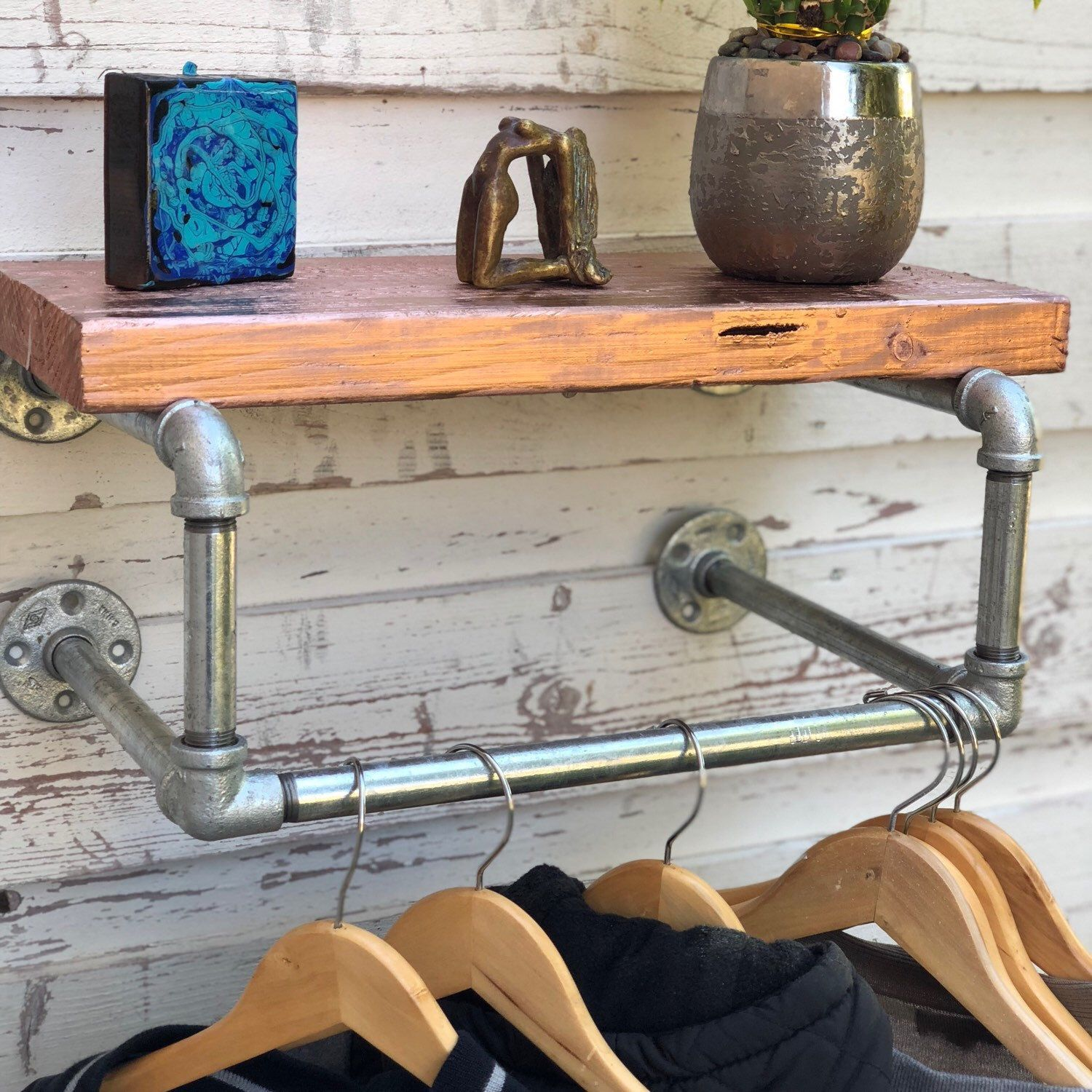 Clothes rack galvanized industrial pipe boutique store hospitality