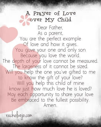 A prayer for parents to pray over their child.