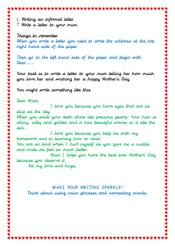 Letter writing activity for Mother's Day, KS1 students
