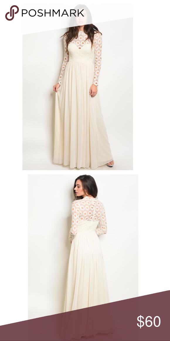 a0a8560e61fe Long sleeve crochet high neck maxi gown. Cream Long crochet sleeve high  neck maxi gown Country: CHINA Fabric Content: 100% POLYESTER Description:  L: 58