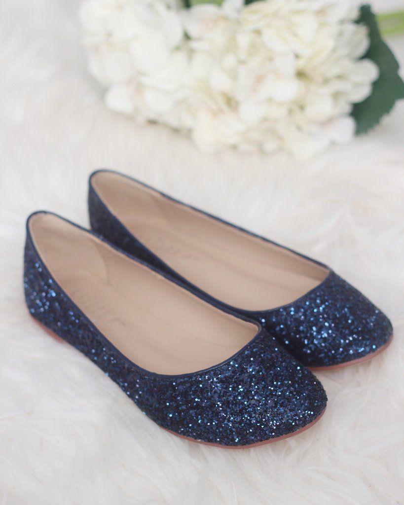 NAVY Rock Glitter Slip on Flats