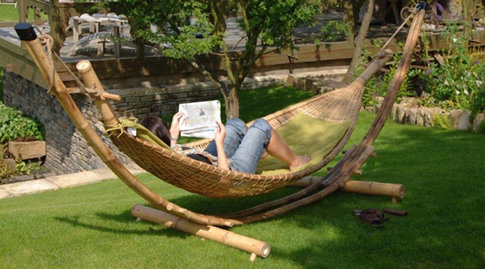 mobilier en bambou hamac grand luxe en bambou naturel avec coussins lit meuble d co. Black Bedroom Furniture Sets. Home Design Ideas