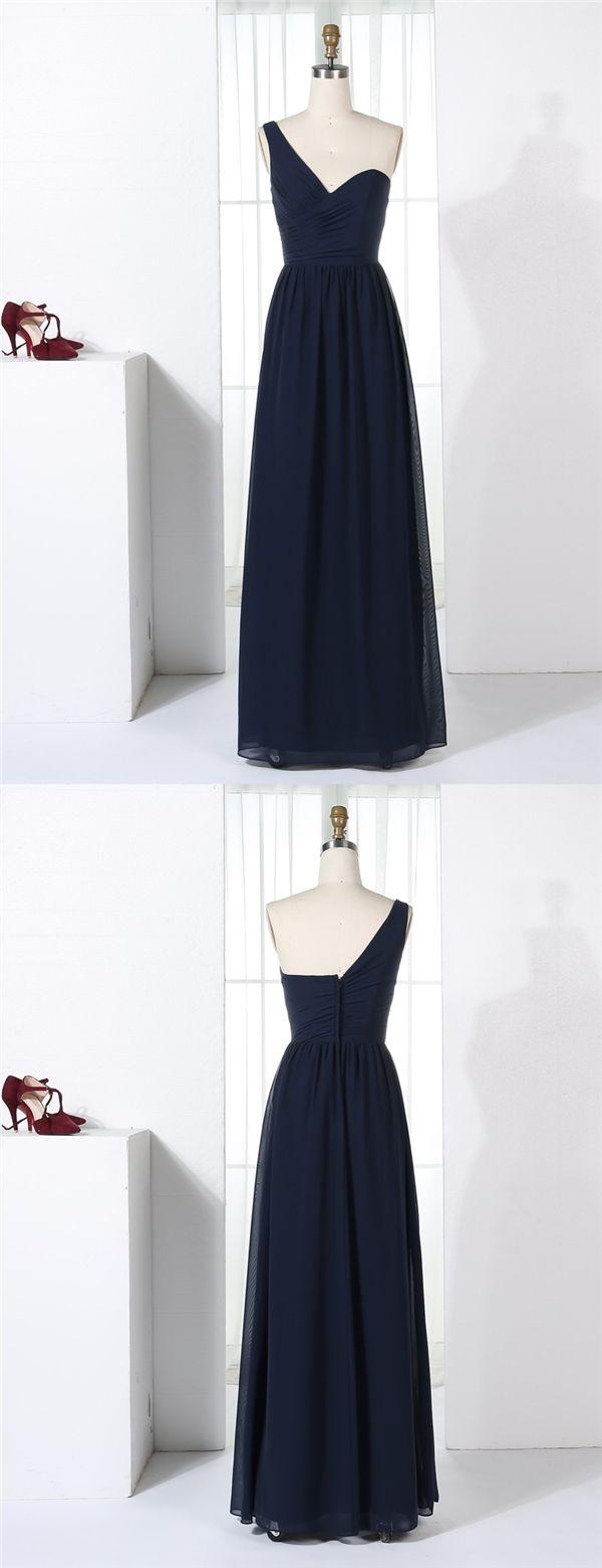 Aline oneshoulder floorlength navy blue chiffon bridesmaid dress