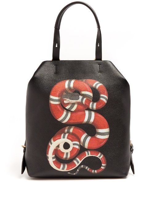 b78b543c GUCCI Snake-Print Leather Backpack. #gucci #bags #leather #lining #canvas # backpacks #cotton #